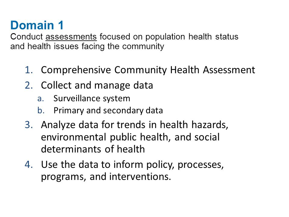 Domain 1 Conduct assessments focused on population health status and health issues facing the community 1.Comprehensive Community Health Assessment 2.Collect and manage data a.Surveillance system b.Primary and secondary data 3.Analyze data for trends in health hazards, environmental public health, and social determinants of health 4.Use the data to inform policy, processes, programs, and interventions.