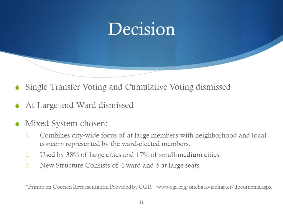 CGR Inform & Empower Decision  Single Transfer Voting and Cumulative Voting dismissed  At Large and Ward dismissed  Mixed System chosen: 1.
