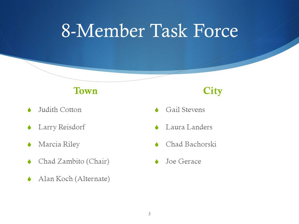 8-Member Task Force Town  Judith Cotton  Larry Reisdorf  Marcia Riley  Chad Zambito (Chair)  Alan Koch (Alternate) City  Gail Stevens  Laura La