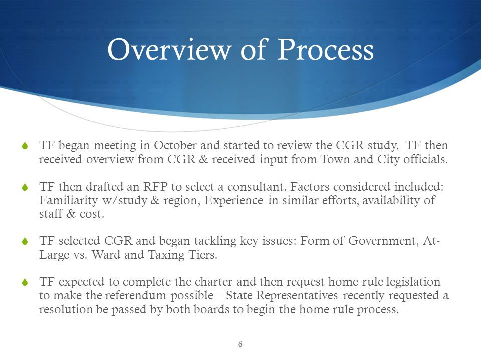 CGR Inform & Empower Overview of Process  TF began meeting in October and started to review the CGR study.