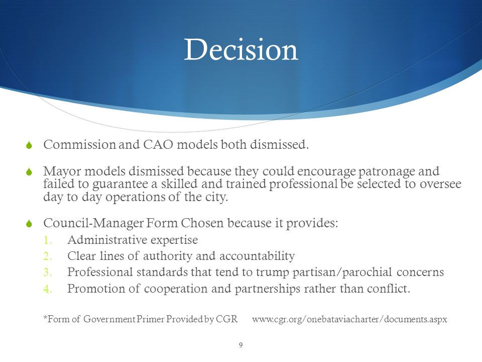 CGR Inform & Empower Decision  Commission and CAO models both dismissed.