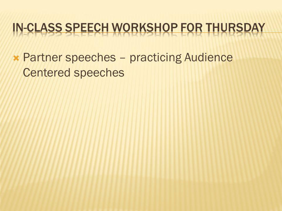  Partner speeches – practicing Audience Centered speeches