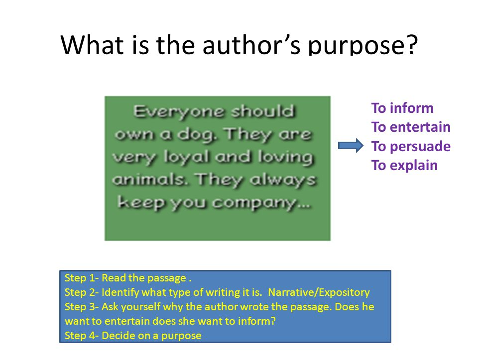What is the author's purpose. Step 1- Read the passage.