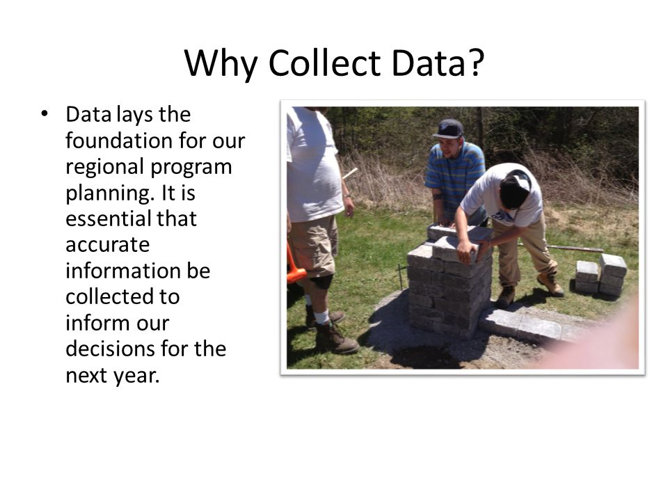 Why Collect Data.Data lays the foundation for our regional program planning.