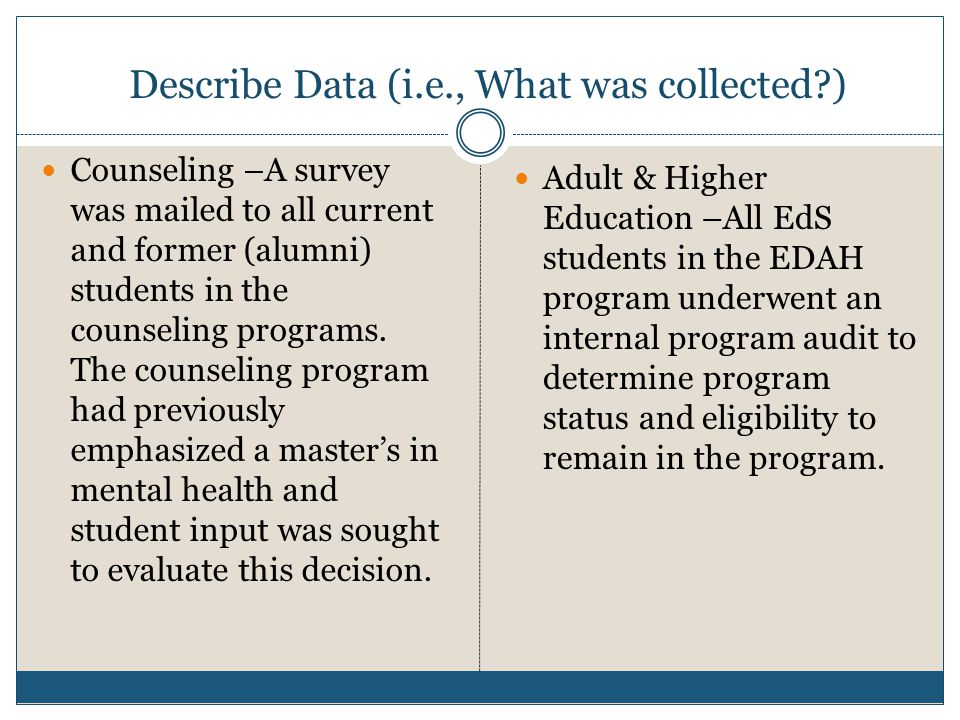 Describe Data (i.e., What was collected ) Counseling –A survey was mailed to all current and former (alumni) students in the counseling programs.
