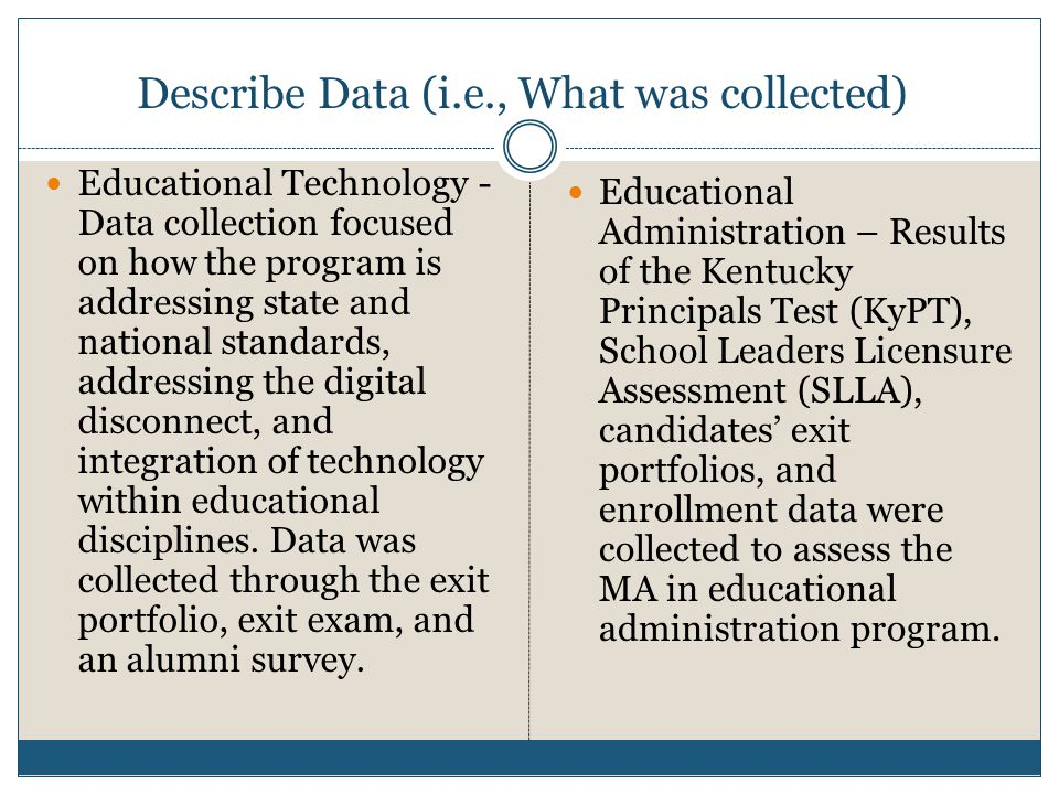 Describe Data (i.e., What was collected) Educational Technology - Data collection focused on how the program is addressing state and national standard