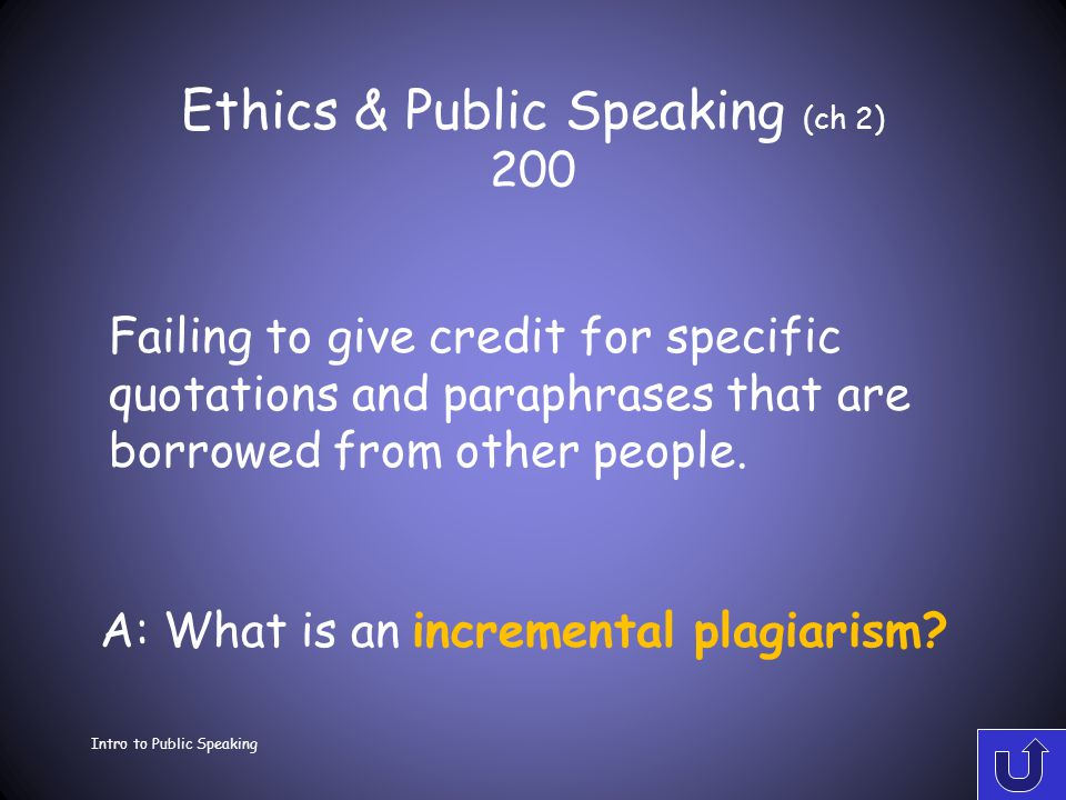 Ethics & Public Speaking (ch 2) 100 Intro to Public Speaking A: What is an ethics.
