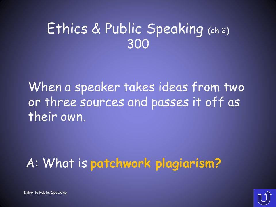 Ethics & Public Speaking (ch 2) 200 Intro to Public Speaking A: What is an incremental plagiarism.