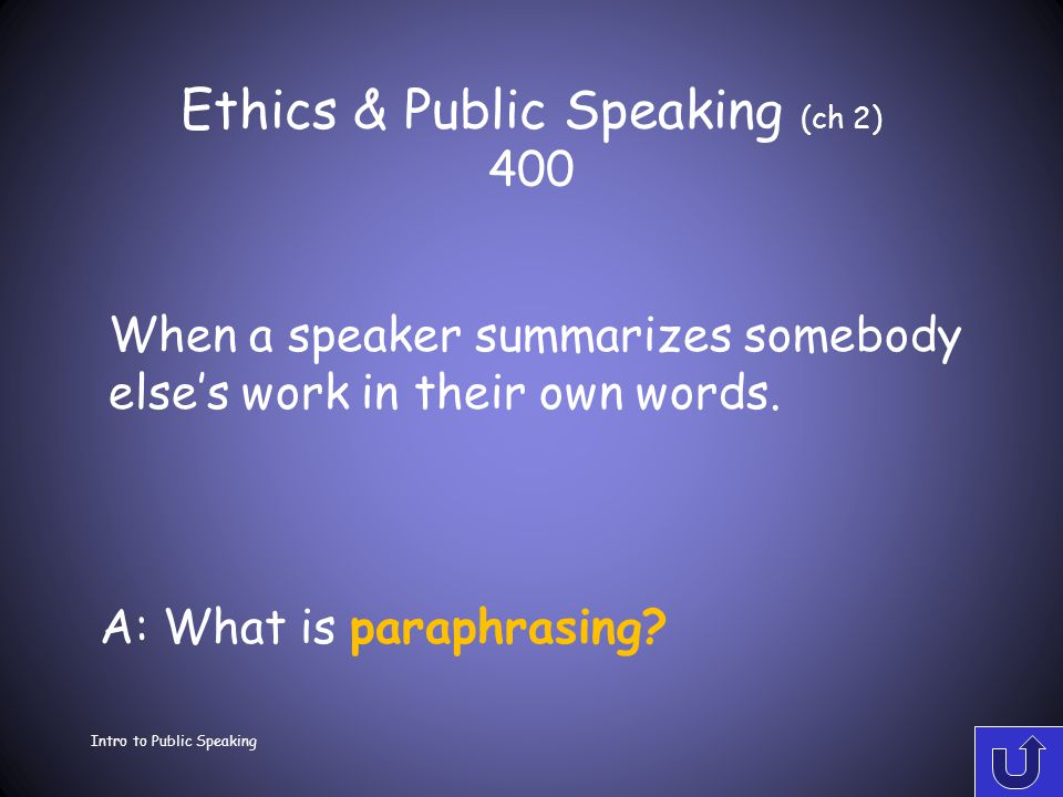 Ethics & Public Speaking (ch 2) 300 Intro to Public Speaking A: What is patchwork plagiarism? When a speaker takes ideas from two or three sources and