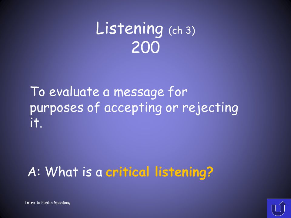 Listening (ch 3) 100 Intro to Public Speaking A: What is appreciative listening? Listening for pleasure or enjoyment.