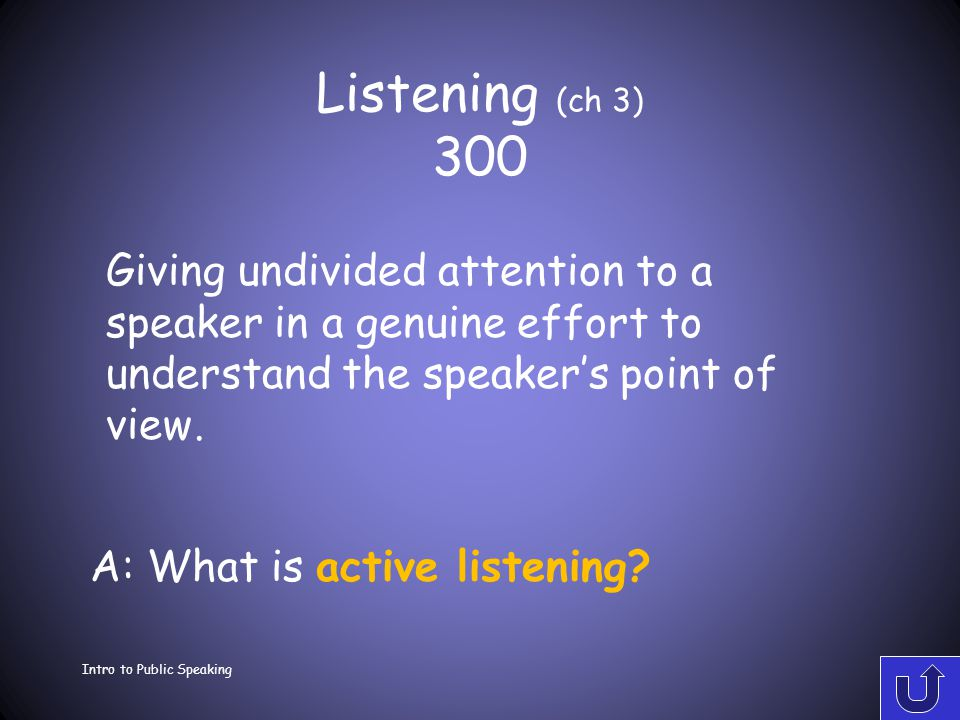 Listening (ch 3) 200 Intro to Public Speaking A: What is a critical listening? To evaluate a message for purposes of accepting or rejecting it.
