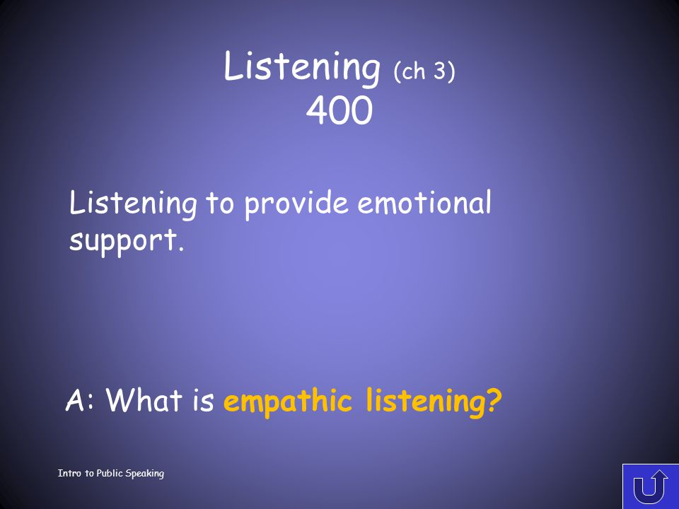 Listening (ch 3) 300 Intro to Public Speaking A: What is active listening? Giving undivided attention to a speaker in a genuine effort to understand t