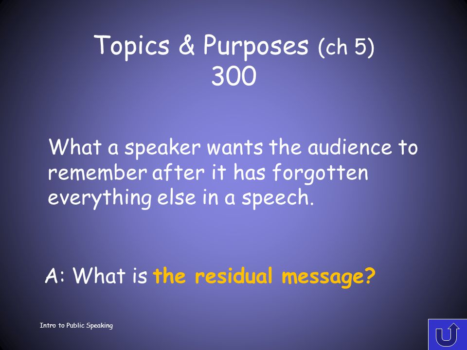 Topics & Purposes (ch 5) 200 Intro to Public Speaking A: What is the central idea.
