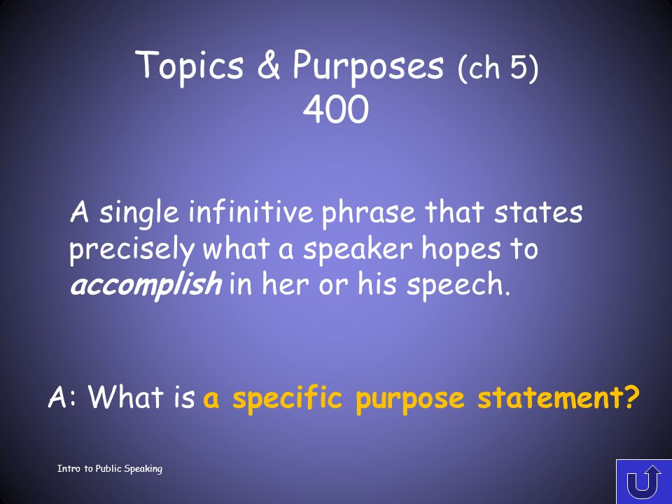 Topics & Purposes (ch 5) 300 Intro to Public Speaking A: What is the residual message? What a speaker wants the audience to remember after it has forg