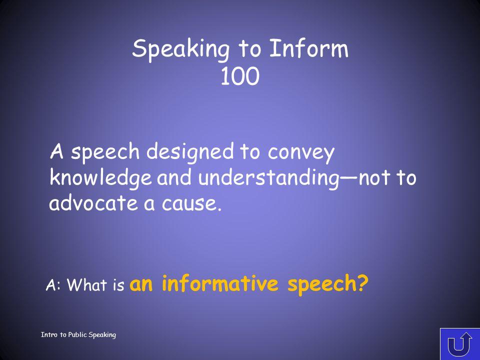 Intro to Public Speaking Ch 15 Speaking to Inform Ch 1 Speaking in Public Ch 2 Ethics Ch 3 Listening Ch 5 Topics & Purposes 100 200 300 400 500 100 20