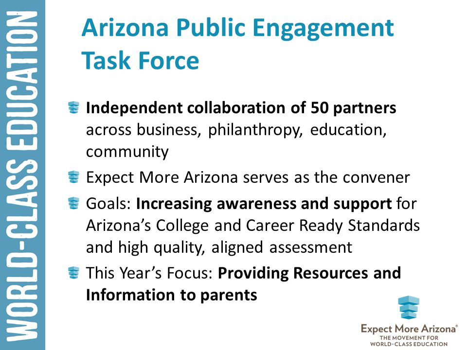 Arizona Public Engagement Task Force Independent collaboration of 50 partners across business, philanthropy, education, community Expect More Arizona serves as the convener Goals: Increasing awareness and support for Arizona's College and Career Ready Standards and high quality, aligned assessment This Year's Focus: Providing Resources and Information to parents