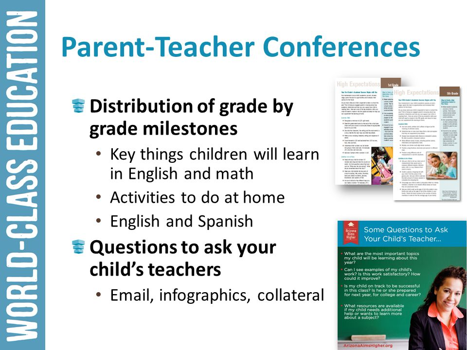 Parent-Teacher Conferences Distribution of grade by grade milestones Key things children will learn in English and math Activities to do at home Engli