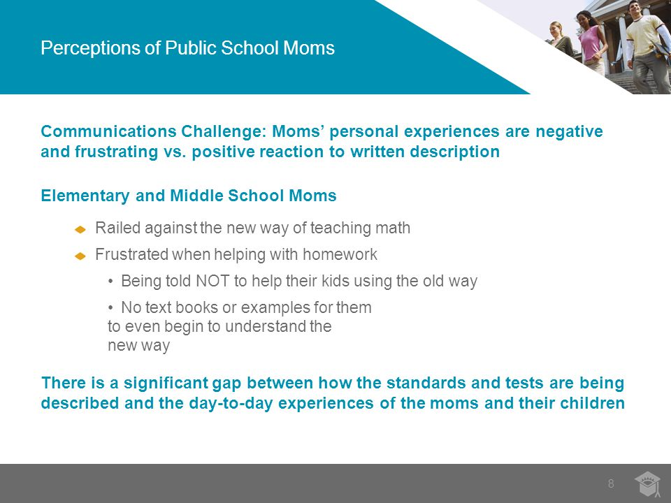 8 Perceptions of Public School Moms Communications Challenge: Moms' personal experiences are negative and frustrating vs.