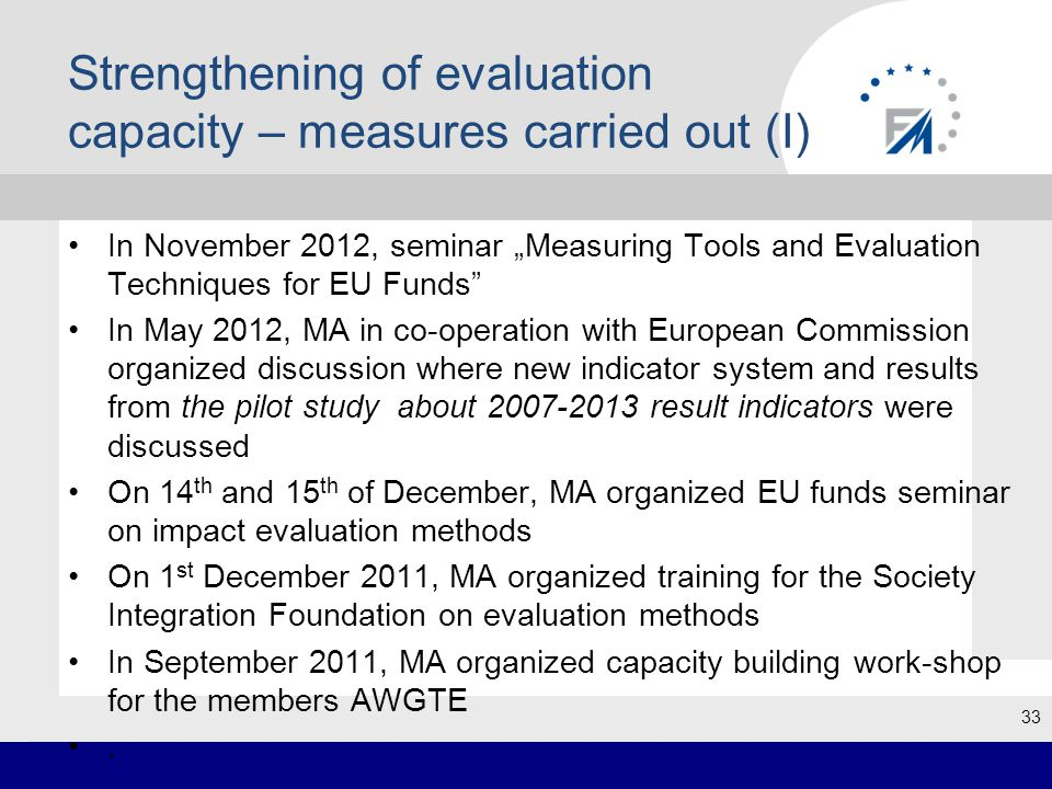 """Strengthening of evaluation capacity – measures carried out (I) In November 2012, seminar """"Measuring Tools and Evaluation Techniques for EU Funds In May 2012, MA in co-operation with European Commission organized discussion where new indicator system and results from the pilot study about 2007-2013 result indicators were discussed On 14 th and 15 th of December, MA organized EU funds seminar on impact evaluation methods On 1 st December 2011, MA organized training for the Society Integration Foundation on evaluation methods In September 2011, MA organized capacity building work-shop for the members AWGTE."""