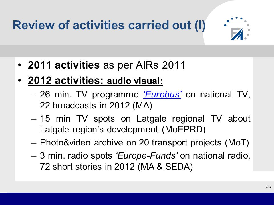 Review of activities carried out (I) 2011 activities as per AIRs 2011 2012 activities: audio visual: –26 min.