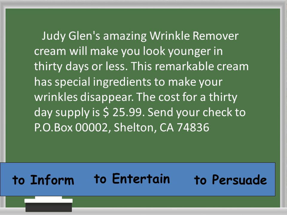 Judy Glen's amazing Wrinkle Remover cream will make you look younger in thirty days or less. This remarkable cream has special ingredients to make you