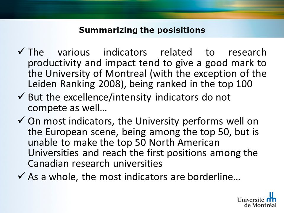 Concluding remarks The author of this paper has argued that the world university rankings can reasonably inform an effective decision making process, if such a process goes beyond the overall scores to take full advantage of the individual indicators, being selectively chosen according to the strategic intent of the institution and linked to a formal strategic environmental thinking exercise leading to operational changes.