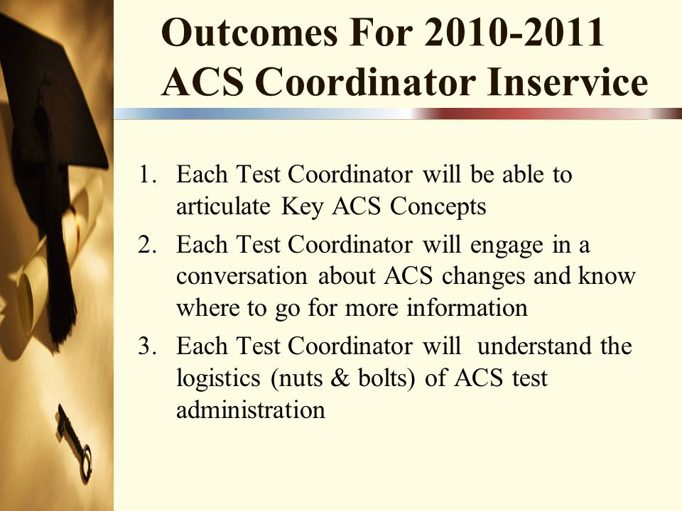 Outcomes For 2010-2011 ACS Coordinator Inservice 1.Each Test Coordinator will be able to articulate Key ACS Concepts 2.Each Test Coordinator will engage in a conversation about ACS changes and know where to go for more information 3.Each Test Coordinator will understand the logistics (nuts & bolts) of ACS test administration
