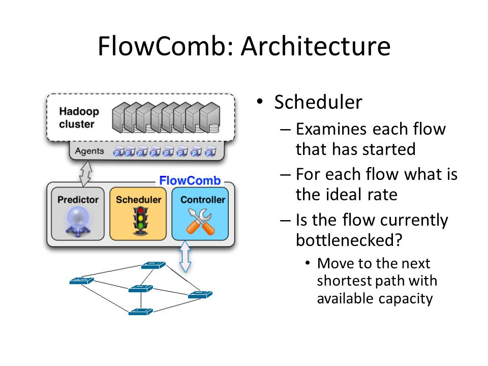 FlowComb: Architecture Scheduler – Examines each flow that has started – For each flow what is the ideal rate – Is the flow currently bottlenecked.