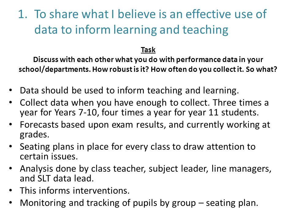 1.To share what I believe is an effective use of data to inform learning and teaching Data should be used to inform teaching and learning.