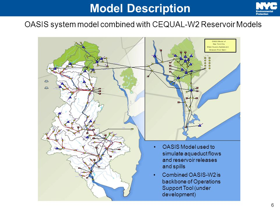 6 Model Description OASIS system model combined with CEQUAL-W2 Reservoir Models OASIS Model used to simulate aqueduct flows and reservoir releases and spills Combined OASIS-W2 is backbone of Operations Support Tool (under development)