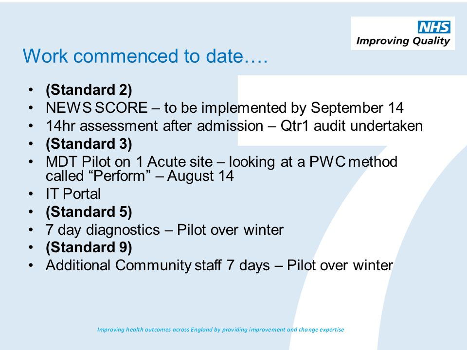 Work commenced to date…. (Standard 2) NEWS SCORE – to be implemented by September 14 14hr assessment after admission – Qtr1 audit undertaken (Standard