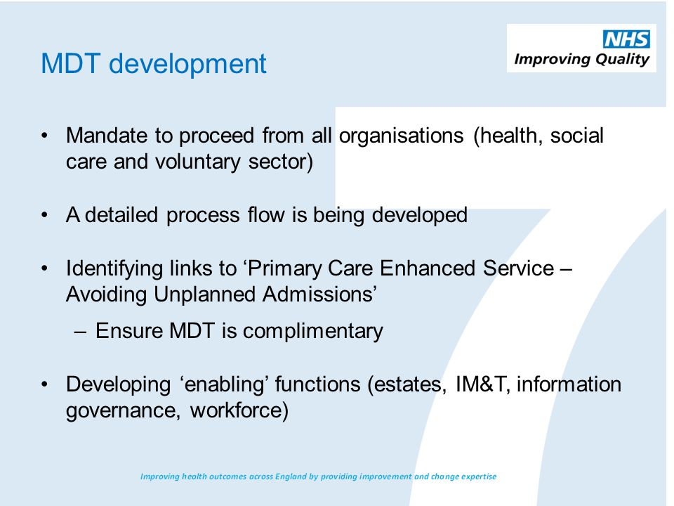 Rapid Access Clinic - 7day Diagnostics - Front of House Co-ordinator – Community Matron Practice MDT (phase 1) GP Practice Nurses Community Nurses Social worker Specialist Nurses Third Sector (Monthly) Escalation MDT (Phase 2) Geriatrician RIACT Social care Mental health SPA (Daily) All in locality and managed by primary / community care 111, NEAS, A&E