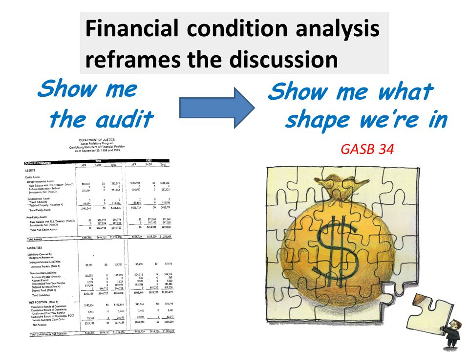 Financial condition analysis reframes the discussion Show me the audit Show me what shape we're in GASB 34