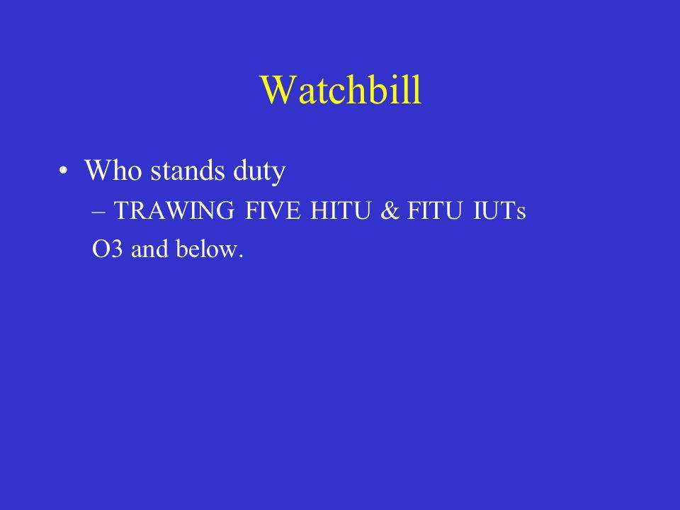 Watchbill Who stands duty –TRAWING FIVE HITU & FITU IUTs O3 and below.