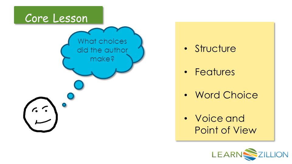 Let's Review Core Lesson What choices did the author make.