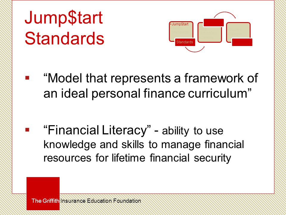 Jump$tart Standards  Model that represents a framework of an ideal personal finance curriculum  Financial Literacy - ability to use knowledge and skills to manage financial resources for lifetime financial security The Griffith Insurance Education Foundation Jump$tart Griffith Standards Standards RMI Education Careers Curriculum Student Teacher Certification
