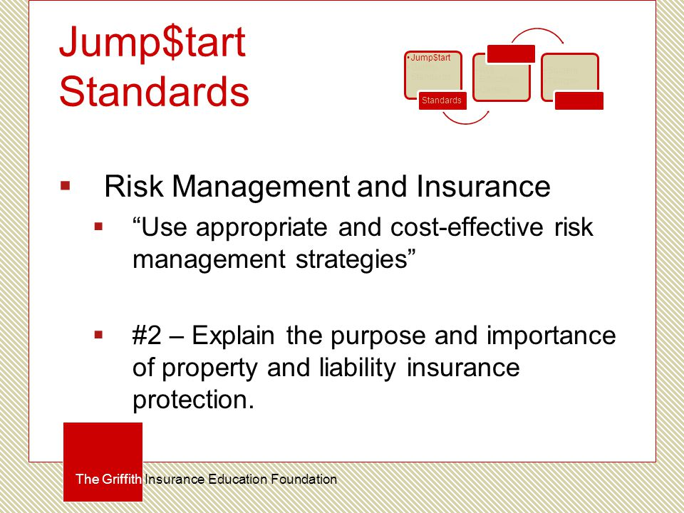 Jump$tart Standards  Risk Management and Insurance  Use appropriate and cost-effective risk management strategies  #2 – Explain the purpose and importance of property and liability insurance protection.