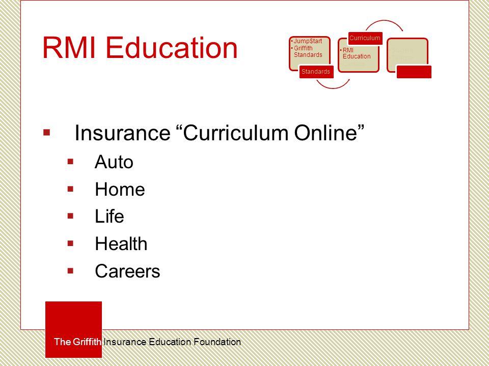 RMI Education  Insurance Curriculum Online  Auto  Home  Life  Health  Careers The Griffith Insurance Education Foundation Jump$tart Griffith Standards Standards RMI Education Careers Curriculum Student Teacher Certification