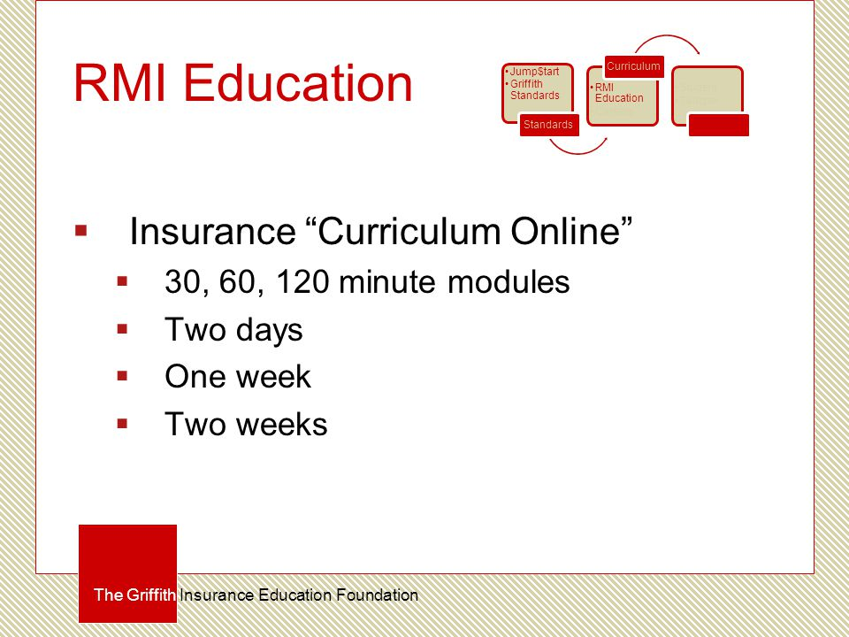 RMI Education  Insurance Curriculum Online  30, 60, 120 minute modules  Two days  One week  Two weeks The Griffith Insurance Education Foundation Jump$tart Griffith Standards Standards RMI Education Careers Curriculum Student Teacher Certification