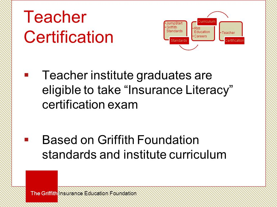 Teacher Certification  Teacher institute graduates are eligible to take Insurance Literacy certification exam  Based on Griffith Foundation standards and institute curriculum The Griffith Insurance Education Foundation Jump$tart Griffith Standards Standards RMI Education Careers Curriculum Student Teacher Certification
