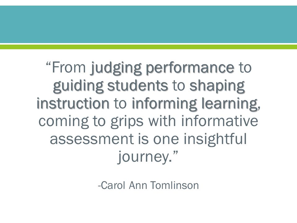 """judging performance guiding students shaping instructioninforming learning """"From judging performance to guiding students to shaping instruction to inf"""