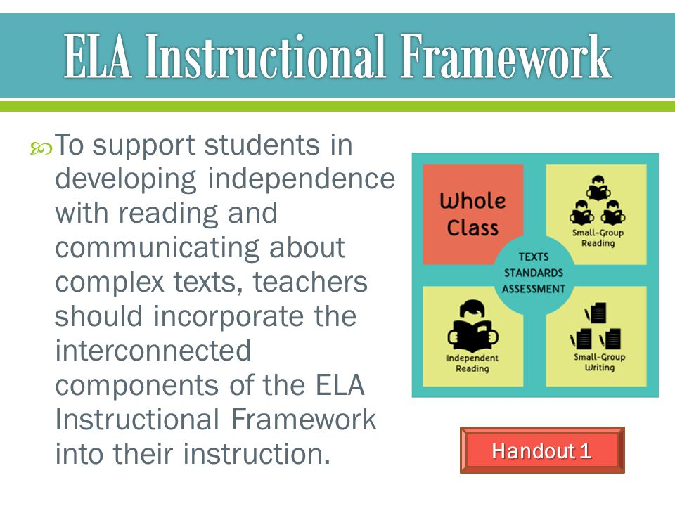  To support students in developing independence with reading and communicating about complex texts, teachers should incorporate the interconnected co
