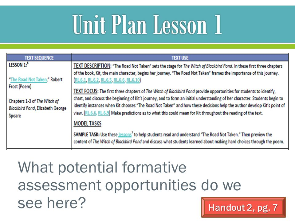 What potential formative assessment opportunities do we see here? Handout 2, pg. 7
