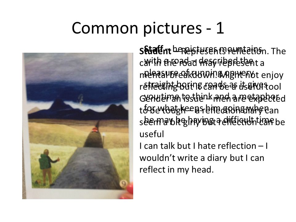 Common pictures - 1 Staff – he pictures mountains with a road – described the pleasure of running on very straight boring roads as it gives you time to think and a metaphor for what keeps him going when he may be having a difficult time Student – Represents reflection.