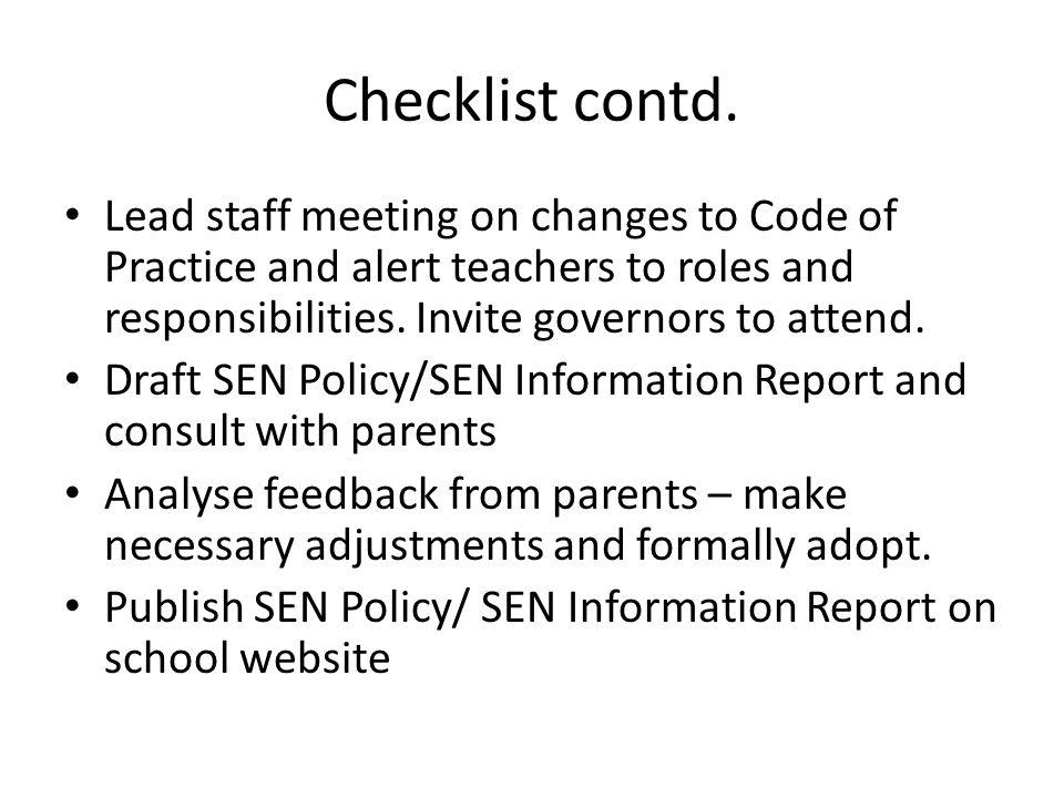 Checklist contd.