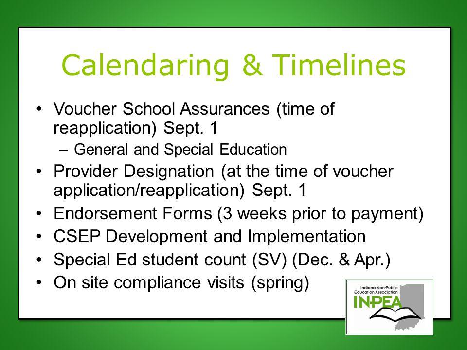Calendaring & Timelines Voucher School Assurances (time of reapplication) Sept.