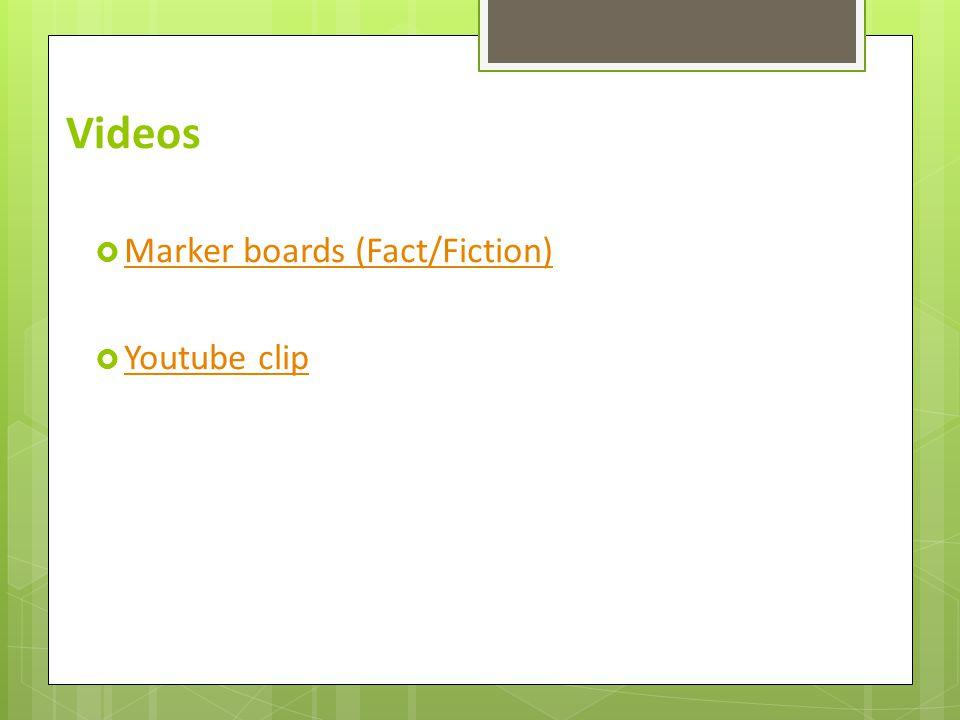 Videos  Marker boards (Fact/Fiction) Marker boards (Fact/Fiction)  Youtube clip Youtube clip