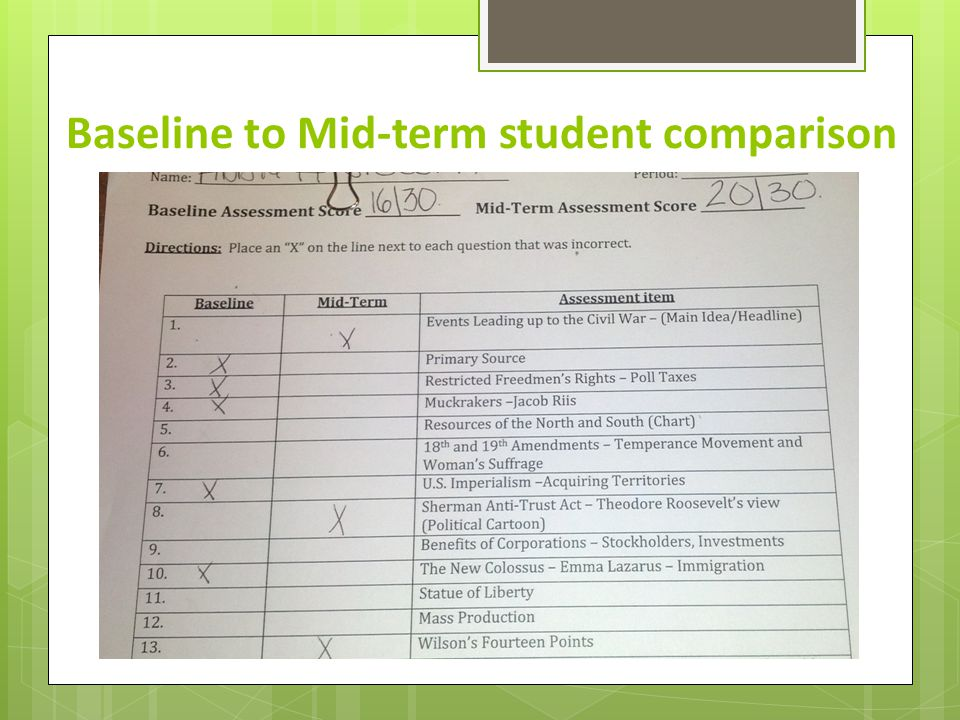 Baseline to Mid-term student comparison