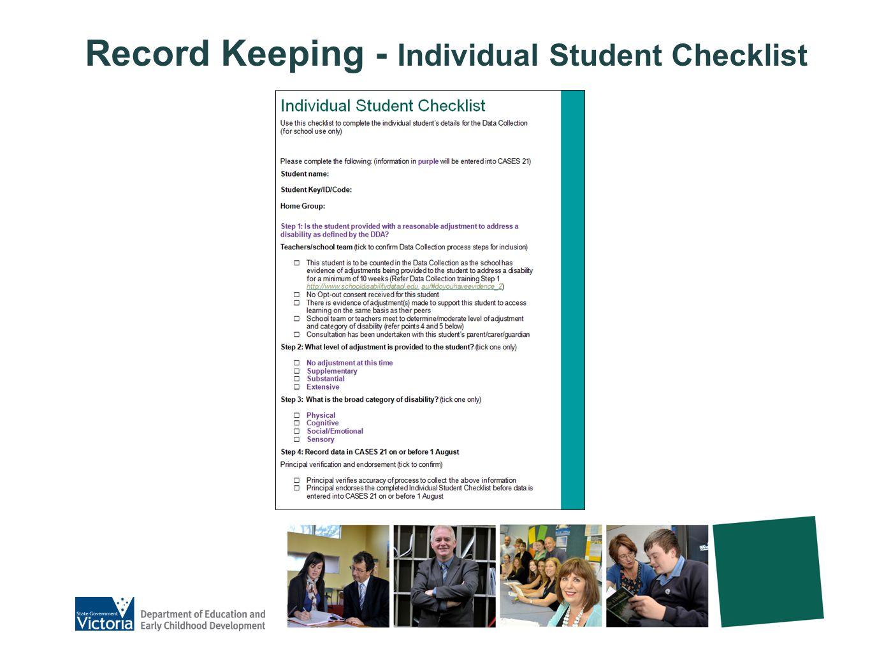 Record Keeping - Individual Student Checklist