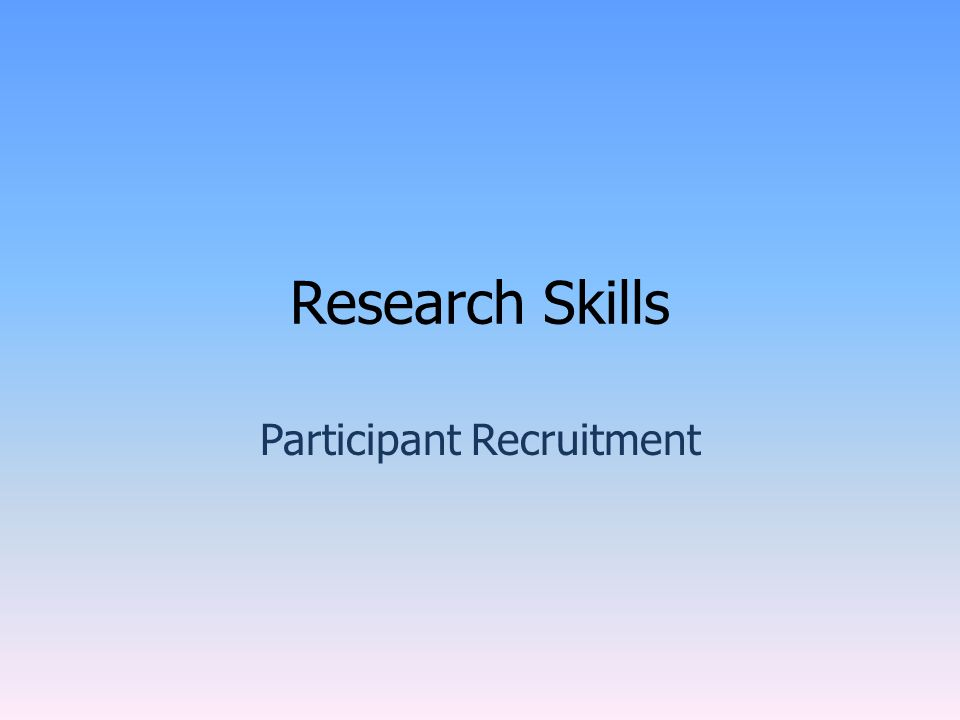 Research Skills Participant Recruitment